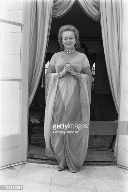 British-American actress Olivia de Havilland wearing a dress by Dior at the Dorchester Hotel in London, UK, 24th August 1971.