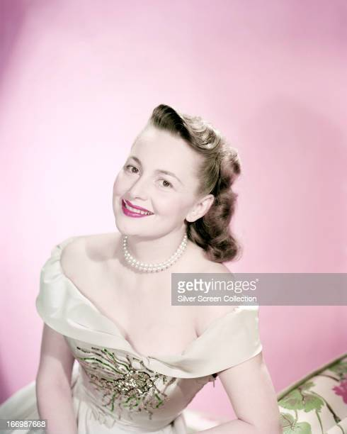 BritishAmerican actress Olivia de Havilland wearing an offtheshoulder dress circa 1940