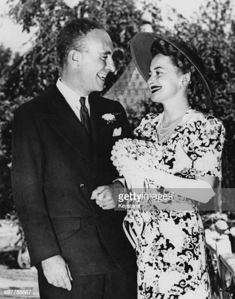 British-American actress Olivia de Havilland with her husband, author Marcus Goodrich after their wedding in Cannondale, Connecticut, USA, 26th...