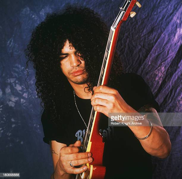 British-American guitarist Slash , of American rock group Guns N' Roses, 1990.