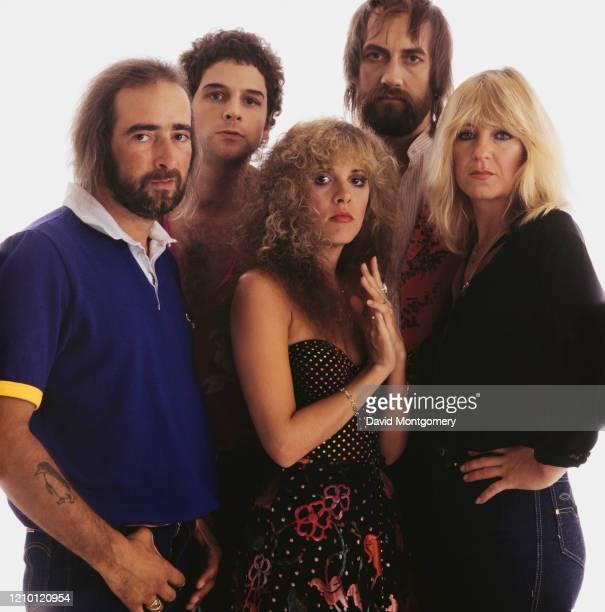 British-American rock group Fleetwood Mac, circa 1982. From left to right, bassist John McVie, guitarist Lindsey Buckingham, singer Stevie Nicks,...