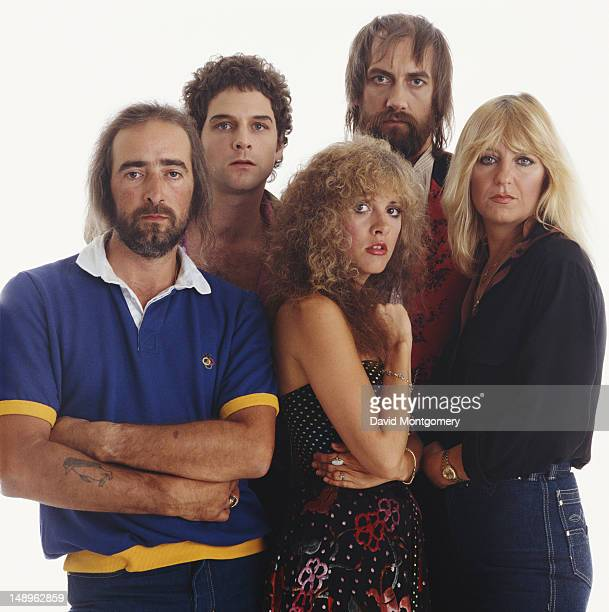 BritishAmerican rock group Fleetwood Mac circa 1982 From left to right bassist John McVie guitarist Lindsey Buckingham singer Stevie Nicks drummer...