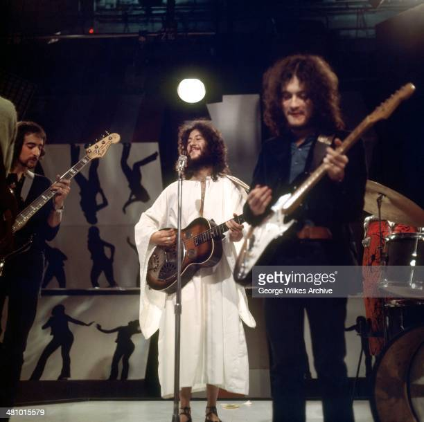 BritishAmerican rock group Fleetwood Mac perform on television London England 1969 Pictured are from left John McVie Peter Green and Jeremy Spencer