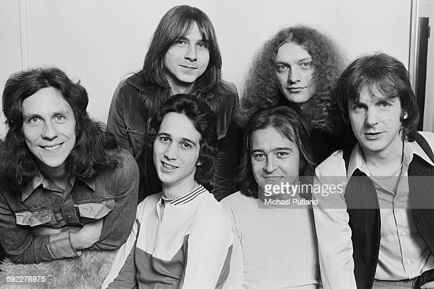 BritishAmerican rock group Foreigner New York USA 7th February 1977 Clockwise from far right drummer Dennis Elliott keyboard player Al Greenwood...
