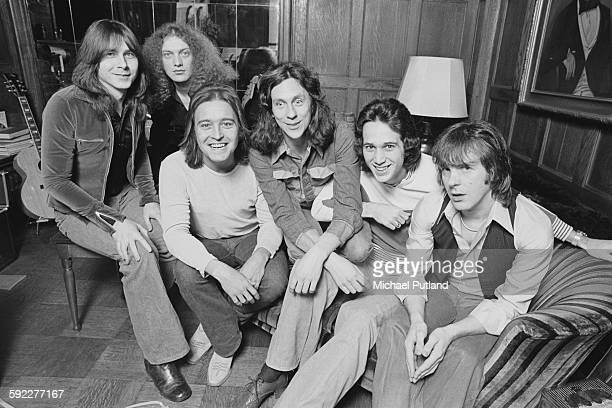 BritishAmerican rock group Foreigner New York USA 7th February 1977 Left to right keyboard player Al Greenwood singer Lou Gramm lead guitarist Mick...