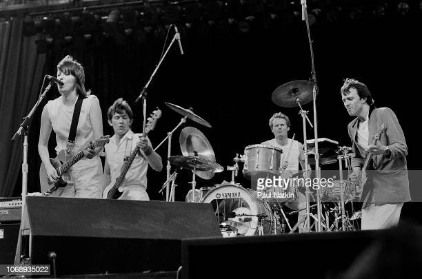 British-American rock group Pretenders perform onstage at the US Festival, Ontario, California, May 30, 1983. Pictured are, from left, Chrissie...