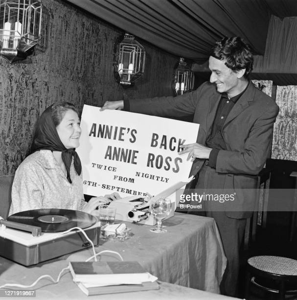 BritishAmerican singer Annie Ross and her husband actor Sean Lynch making publicity material at her nightclub Annie's Room in London 5th September...