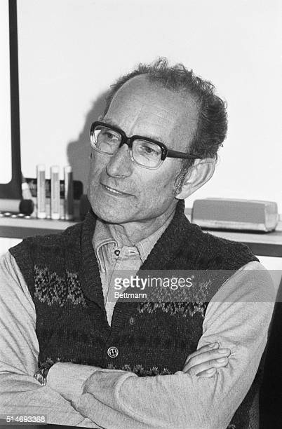 BritishArgentinian molecular biologist Dr Cesar Milstein sits at a press conference as the winner of the 1984 Nobel Prize for his studies of...