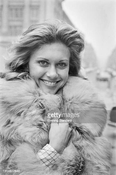 British-Australian singer and actress Olivia Newton-John, who is representing the United Kingdom in the 1974 Eurovision Song Contest with the son...
