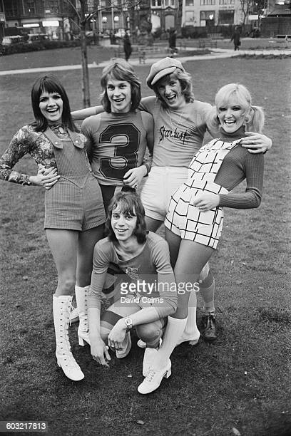Britishbased pop group The New Seekers modelling shorts UK 2nd February 1971 From left to right Eve Graham Marty Kristian Peter Doyle Lyn Paul with...