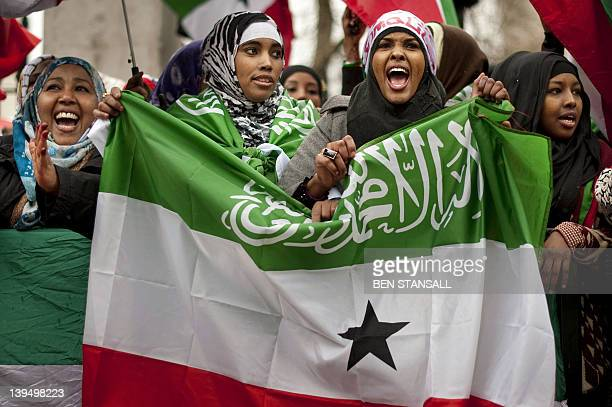 Britishbased Somalilanders wave the flag of the internationally unrecognised selfdeclared republic of Somaliland as they hold a proindependence rally...