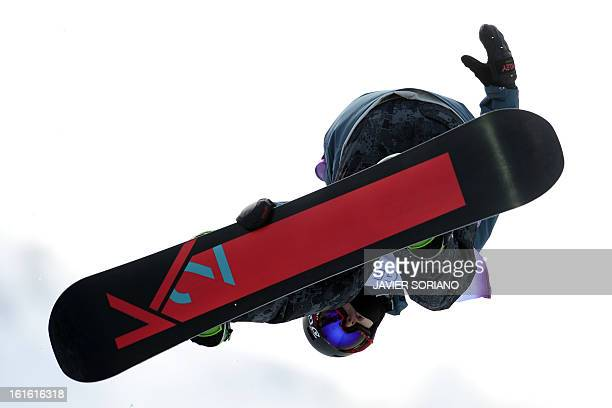 British Ben Kilner competes in a HalfPipe qualifying race during the Snowboarding World Cup Test Event at Snowboard and Free Style Center in Rosa...