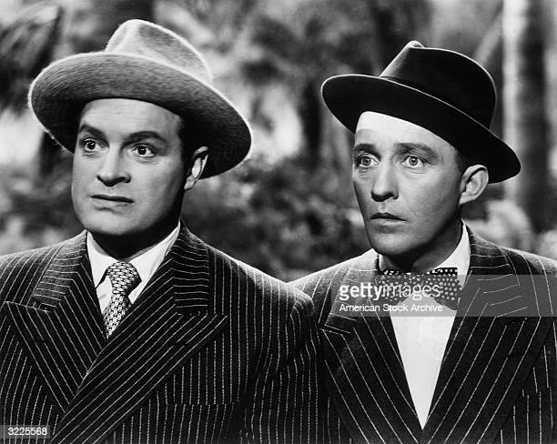 Britishborn actor and comedian Bob Hope and American singer and actor Bing Crosby look surprised in a still from director Norman Z McLeod's film...