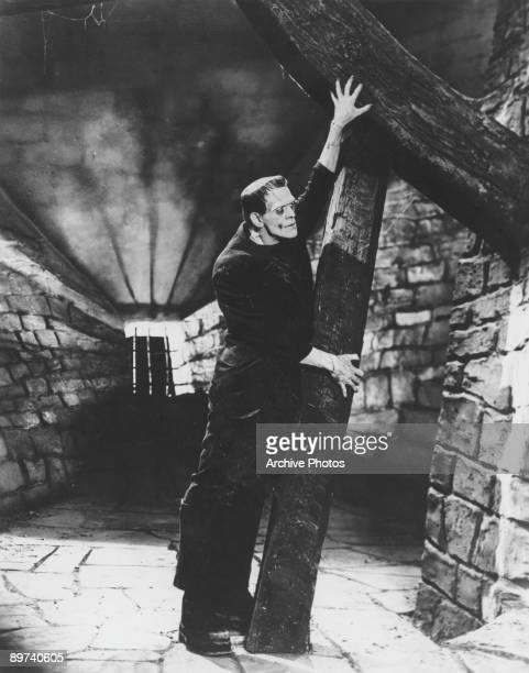 British-born actor Boris Karloff in his role as the resurrected monster in the classic Universal horror film 'Frankenstein', 1931.