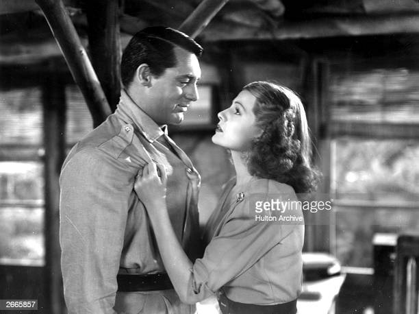Britishborn actor Cary Grant is propositioned by US actress Rita Hayworth in a scene from the film 'Only Angels Have Wings' directed by Howard Hawks