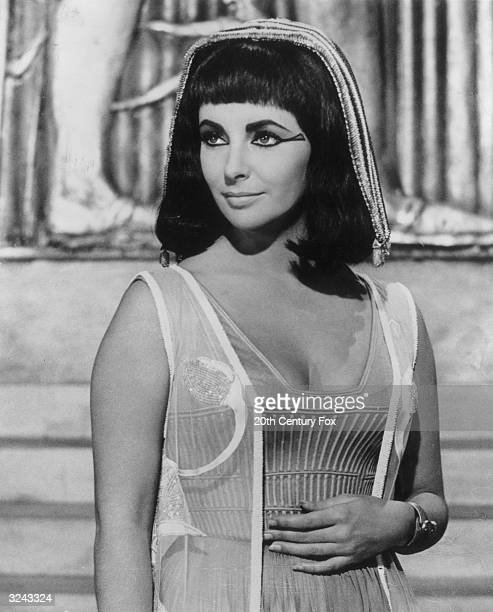 British-born actor Elizabeth Taylor in costume as the Queen of Egypt, in a still for director Joseph L Mankiewicz's film, 'Cleopatra'.