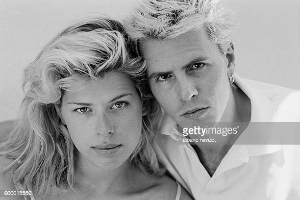 British-born actress and photographer Amanda de Cadenet and her husband John Taylor, bass guitarist and member of the pop rock band Duran Duran.