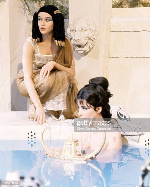 British-born actress Elizabeth Taylor in a bath scene from 'Cleopatra', directed by Joseph L. Mankiewicz, 1963.