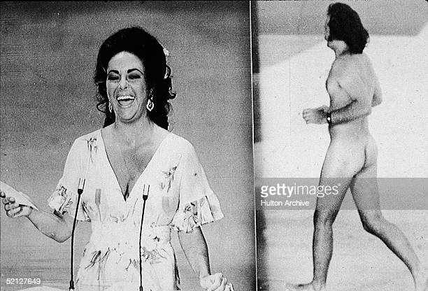 Britishborn actress Elizabeth Taylor laughs as she remarks that she was upstaged by streaker Robert Opal before presenting the Oscar for Best Picture...