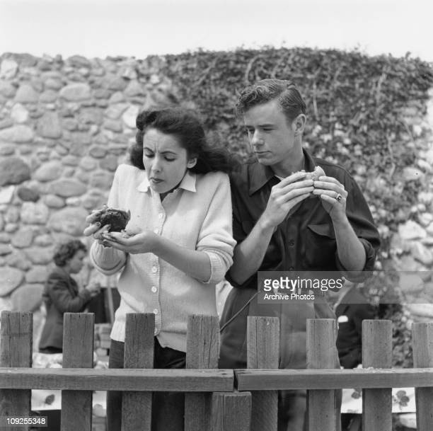 Britishborn actress Elizabeth Taylor tucks into a burger in the company of her friend actor Marshall Thompson circa 1948