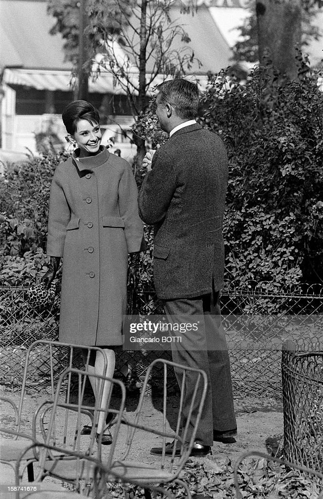 British-born Amercican actor Cary Grant with female counterpart Audrey Hepburn on the set of thriller and romance film 'Charade', directed by Stanley Donen, 1963 in Paris, France.