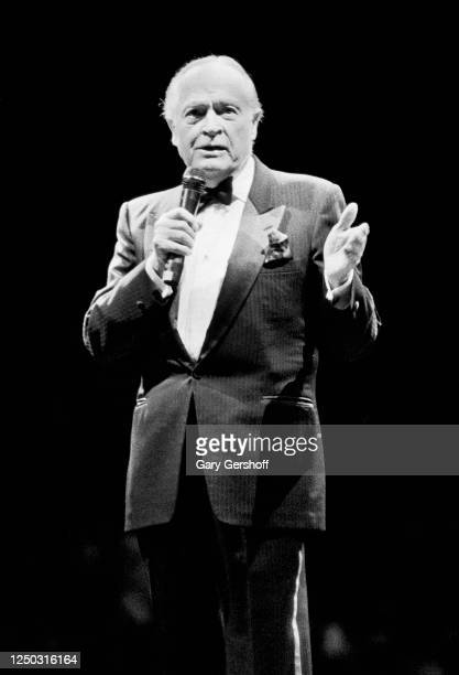 British-born American actor and comedian Bob Hope performs onstage at Madison Square Garden, New York, New York, October 1, 1989. The performance,...