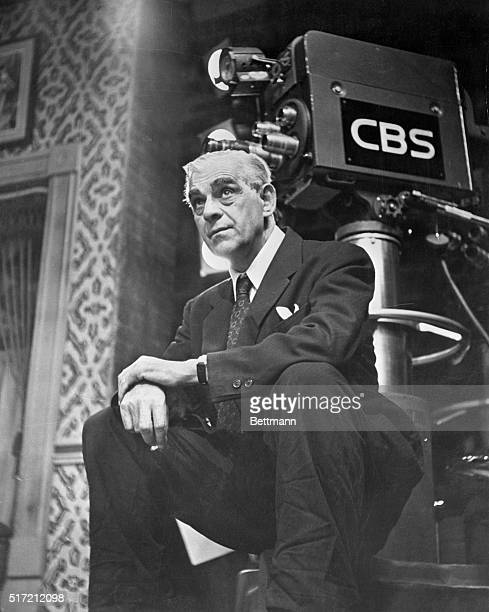 British-born American actor, Boris Karloff, noted for his portrayals of monsters in horror films, takes a break during rehearsals for a television...