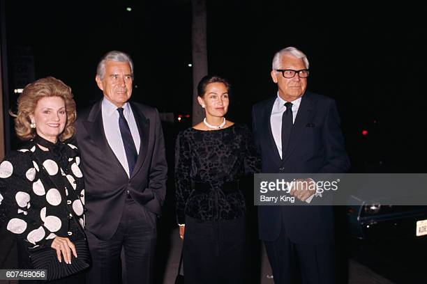Britishborn American actor Cary Grant his wife Barbara Harris American actor John Forsythe and his wife Julie Warren