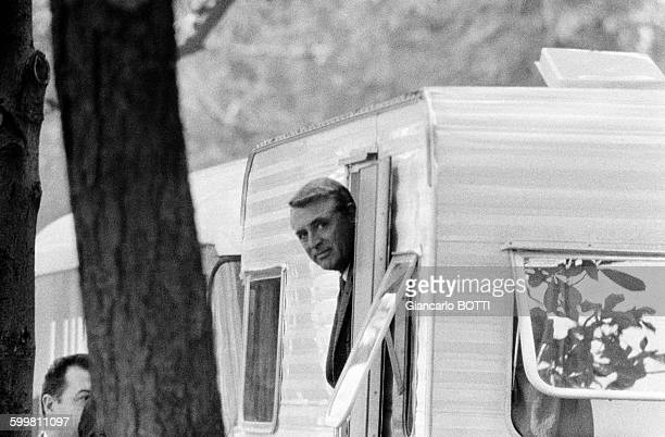 Britishborn American actor Cary Grant on the set of the thriller and romance film 'Charade' directed by Stanley Donen in Paris France in 1963