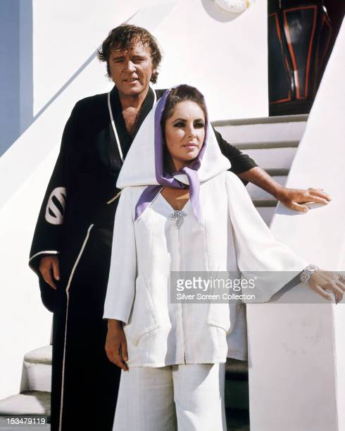 Britishborn American actress Elizabeth Taylor as Flora 'Sissy' Goforth and Richard Burton as Chris Flanders in 'Boom' directed by Joseph Losey 1968
