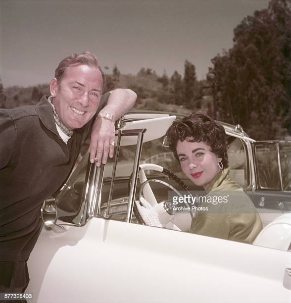 Britishborn American actress Elizabeth Taylor with her husband British actor Michael Wilding circa 1955