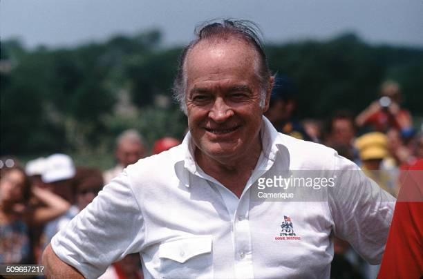 British-born American comedian, actor, and entertainer Bob Hope at a golf tournament, September 1982.