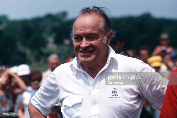 British-born American comedian, actor, and entertainer Bob Hope at a golf tournament, August 1982.