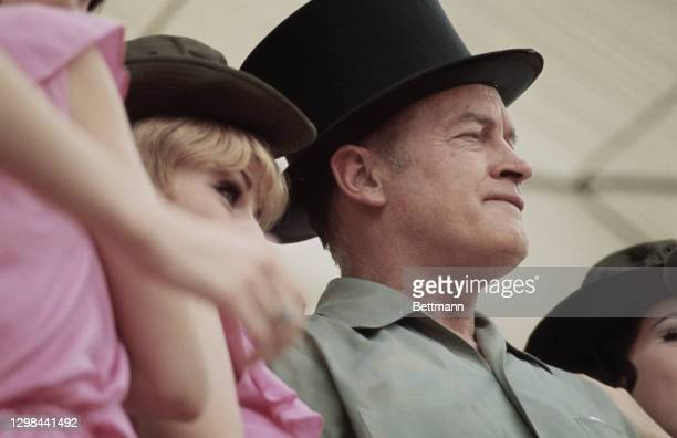 British-born American comedian Bob Hope appears at a Christmas show for the United States troops stationed at the Camp Eagle army base, southeast of...