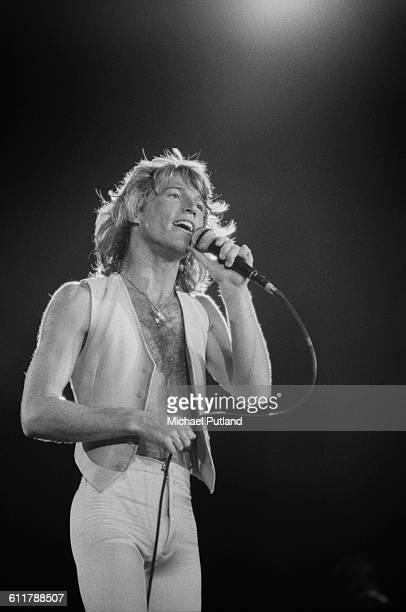Britishborn Australian singer and songwriter Andy Gibb performing on stage USA 1978