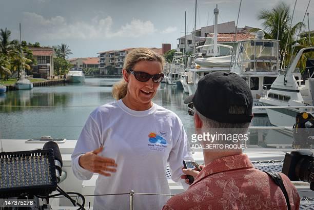Britishborn Australian World Champion Marathon Swimmer and world record in open water swimming Penny Palfrey talks to the press in Havana on June 28...