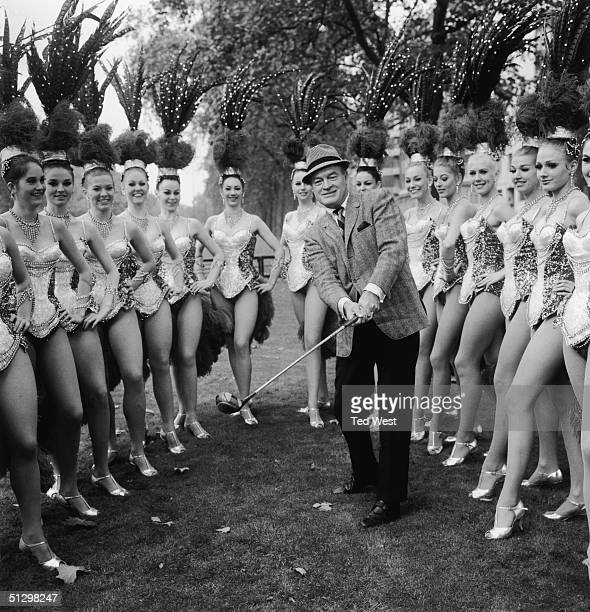 Britishborn comedian and actor Bob Hope with members of the Bluebell Girls dance troupe outside the Dorchester Hotel London 11th November 1967 Hope...