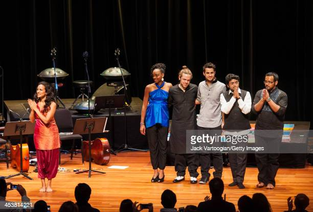 Britishborn Indian musician Anoushka Shankar and her ensemble take a bow at the end of a World Music Institute concert at New York University's...