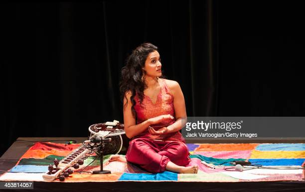 Britishborn Indian musician Anoushka Shankar leads her ensemble during a World Music Institute concert at New York University's Skirball Center New...