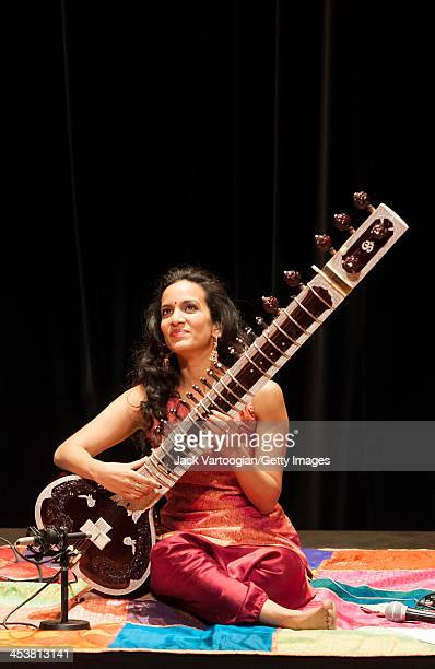 British-born Indian musician Anoushka Shankar plays sitar as she leads her ensemble during a World Music Institute concert at New York University's...