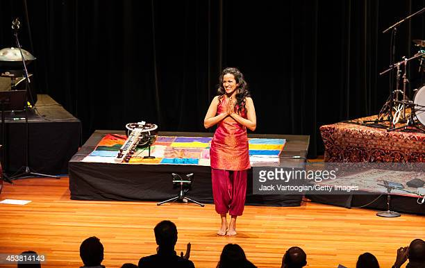 Britishborn Indian musician Anoushka Shankar smiles at the audience at the end of a World Music Institute concert at New York University's Skirball...