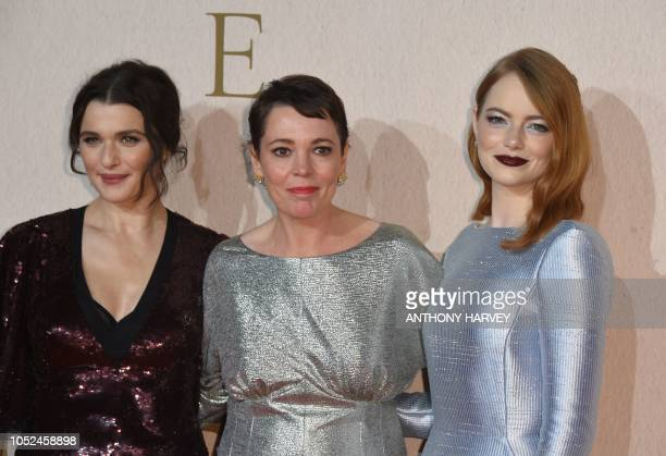 Britishborn US actor Rachel Weisz British actor Olivia Colman and US actor Emma Stone pose upon arrival for the UK premiere of the film 'The...