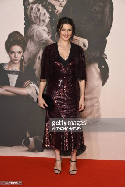 Britishborn US actor Rachel Weisz poses upon arrival for the UK premiere of the film 'The Favourite' during the BFI London Film Festival in London on...