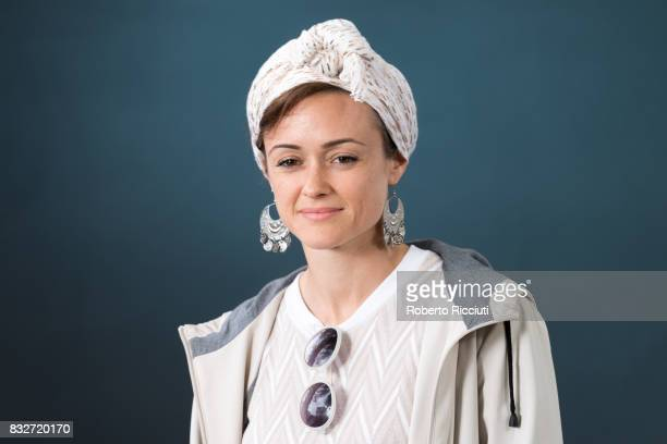 BritishEgyptian poet playwright performer and writer Sabrina Mahfouz attends a photocall during the annual Edinburgh International Book Festival at...