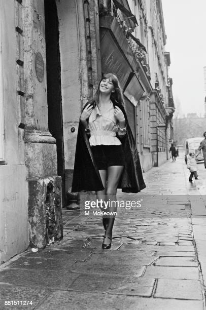 BritishFrench actress Jane Birkin wearing velvet shorts by Vicky Tiel UK 30th January 1971