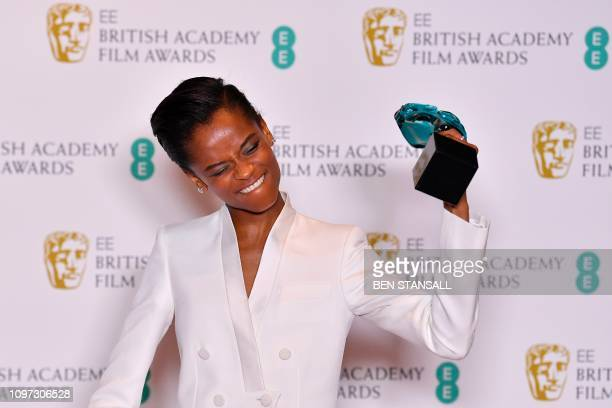TOPSHOT BritishGuyanese actress Letitia Wright poses with the Rising Star Award at the BAFTA British Academy Film Awards at the Royal Albert Hall in...