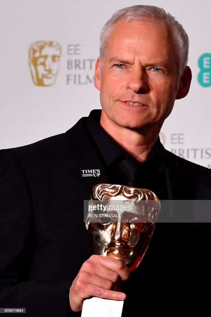 British-Irish filmmaker Martin McDonagh poses with the award for Best Film for 'Three Billboards Outside Ebbing Missouri' at the BAFTA British Academy Film Awards at the Royal Albert Hall in London on February 18, 2018. PHOTO / Ben STANSALL