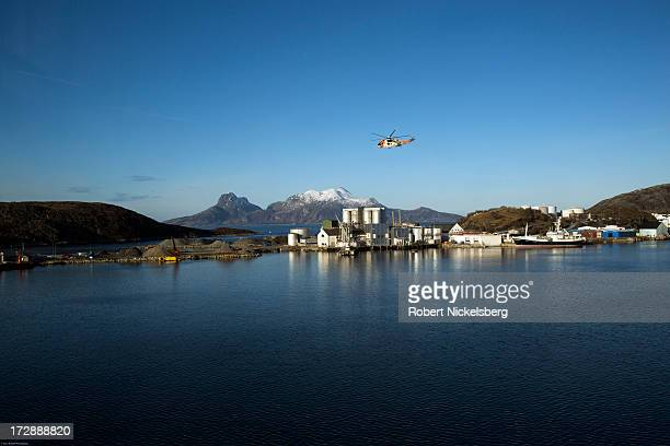 Britishmade Sea King helicopter piloted by the Norwegian Coast Guard circles the harbor March 1 2013 in Bodo Norway Norwegian Coast Guard helicopters...