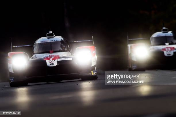 British's driver Mike Conway steers his Toyota TS050 Hybrid LMP1 WEC during 88th edition of the Le Mans 24 Hours race on September 19, 2020 at the La...
