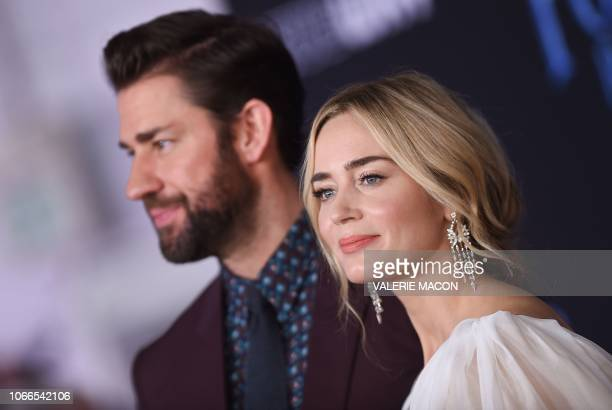 British/US actress Emily Blunt and her husband US actor John Krasinski arrive for the world premiere of Disney's Mary Poppins Returns at the Dolby...